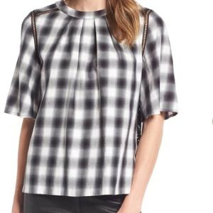 Nordstrom signature plaid lace blouse